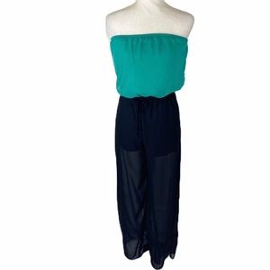 L8ter black green strapless jumpsuit size small